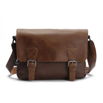 Harga 360DSC Three-box Fashion Business Men PU Leather Flap-Over Cross Body Bag Messenger Shoulder Bag - Light Coffee
