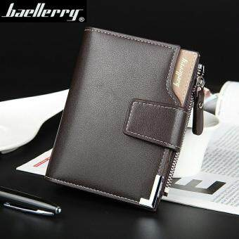 Harga Wallet men genuine leather men wallets purse short male clutch leather wallet mens money bag quality guarantee(Brown)