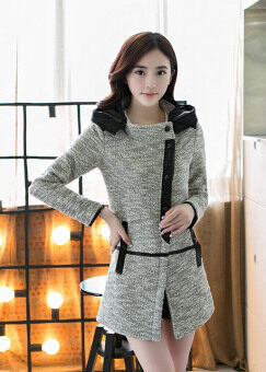 Harga Korean version, large size hooded coat in autumn GREY