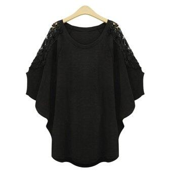 Harga Gracefulvara Women Lady Fashion Lace Blusas Tops Loose Casual Summer Shirts Plus Size XL-5XL (Black)