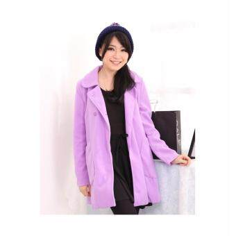 Harga LuvClo (M,L) Korean Style Ladies Trench Coat (Pastel Purple)