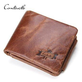 Harga CONTACT'S Genuine Crazy Horse Leather Men Wallets Vintage Trifold Wallet Zip Coin Pocket Purse Cowhide Leather Wallet For Mens(Brown)