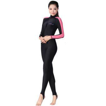 Harga Victory Women Siamese Long sleeve Wetsuits surfing suit Swimming suit couples Prevent bask in clothes (Pink)