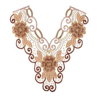 Harga MagiDeal Phenovo Ethnic Mesh Embroidered Floral Neckline Collar Trim Applique