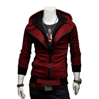 Harga Men's fashion casual Slim hit the color hooded Sweatshirts coat wine red
