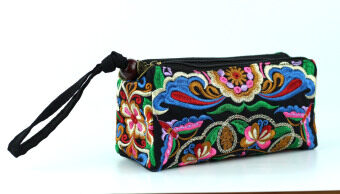Harga Chinese National Style Embroidery Clutch Bag Shopping Coin Purses Floral Handbag Wristlets Gesang Flower