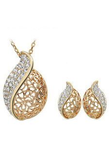 Harga Bluelans Leaf Gold Plated Rhinestone Necklace Earrings Set (Golden)