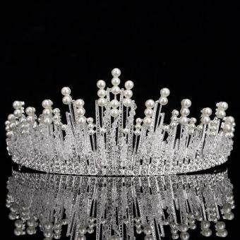 Harga The new bride headdress, alloy pearl crown wedding hair ornaments, bride rings crown wedding dress