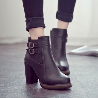 Harga Women Thick High Heel Double Buckle Elastic Bootie Zip Martins Ankle Boots Fashion Ladies Shoes