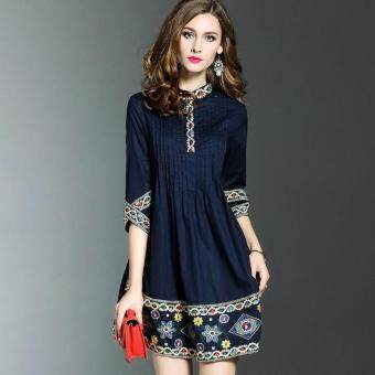 Harga Spring new loose temperament elegant national wind embroidered dress