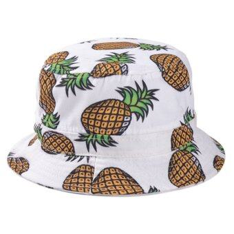 Harga Women Ladies Girls Pineapple Pattern Fisherman Bucket Cap Summer Beach Sun Hat White