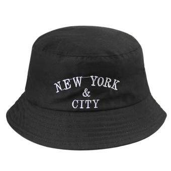 Harga NEW YORK CITY Embroideried Hat Street Dacing Hat Bucket Hat Basin Cap Fisherman Sun Hat Flat Top Sun Visor, Black