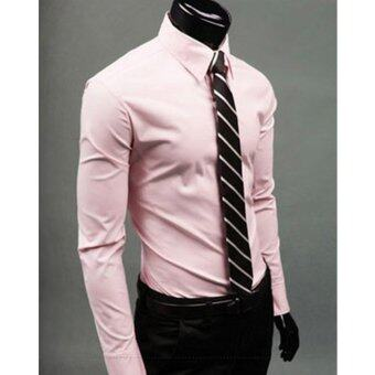 Harga Moonar Fashion Pure Color Style Slim Shirt Men Casual/Fornak Style Long-Sleeve Shirt M-XL (Pink)