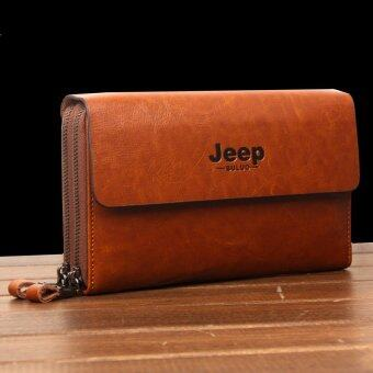 Harga New Jeep Handbag Genuine Cowhide Leather Clutch Soft Male Men Cowhide Leisure Hand Caught Double Zipper Bag (Camel)