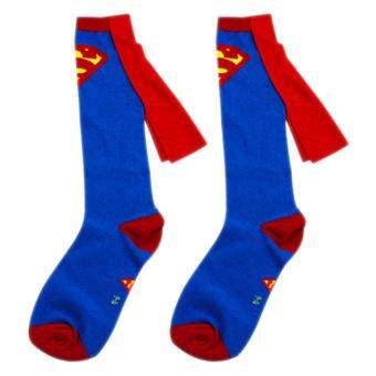 Harga 1 pair socks men Cotton Superman+Batman Long Superhero Socks with Cloak Socks Blue Superman