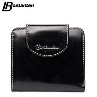 Harga BOSTANTEN Cow Genuine Leather Women Wallets Luxury Brand Small Wallet Hasp Credit Card Holder Wallets Ladies Short Coin Purse