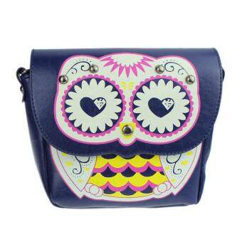 Harga Fashion Owl Printed Pattern Diagonal Package Shoulder Bag Mini Packet Blue