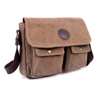 Harga travel bag men's messenger bags canvas-coffee