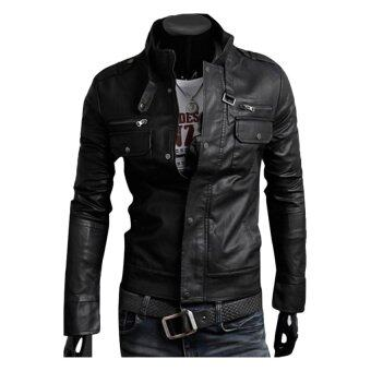 Harga Gracefulvara Fashion Men's PU Leather Jacket Biker Slim Fit Motorcycle Jacket Blazer (Black)