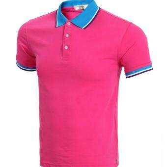 Harga Brand Blue Polo Men Short Sleeve 2017 Mens Summer Fashion Solid Color Polo Shirts Casual Style Polos (Rose)