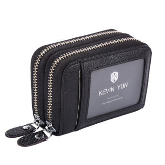 Harga KEVIN YUN Women ID Card Holder Leather Double Zipper Ladies Credit Card Case Wallet Black