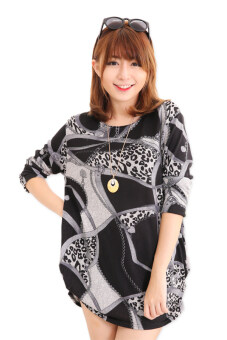 Harga LuvClo (Fit M~3XL) Retro Style Rome Round Neck Long Sleeves Top (Grey)