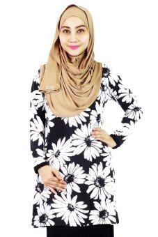 Harga Aqeela Muslimah Wear Basic Top White Sunflower