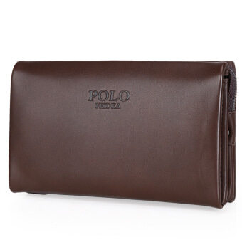 Harga POLO Feidka Men's Genuine Leather cowhide Clutch Bag Classic Checkbook Wallet Large Size(Brown)