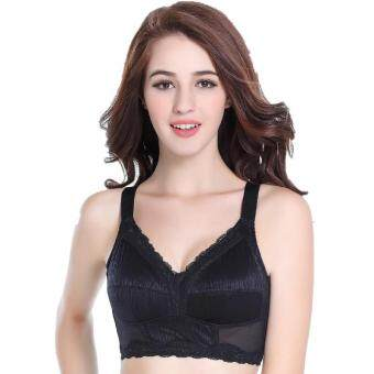 Harga TOPTOP new full cup wire free large size bra minimizer underwear thin cup solid(Black)