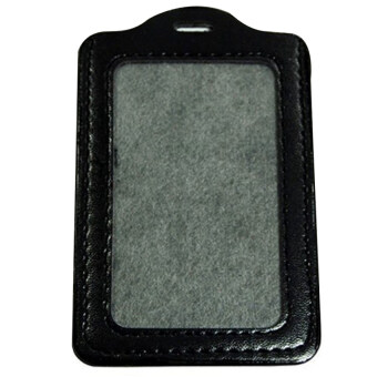 Harga Gracefulvara ID PU Leather Card Holders Badge Case Clear with Color Border and Lanyard Holes - Black
