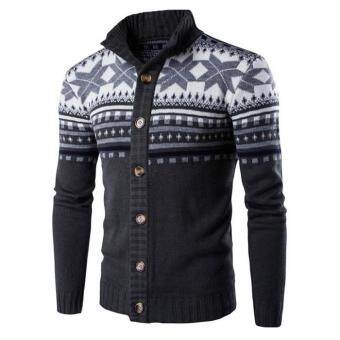 Harga Men sweater national wind printing knitted cardigan Dark grey