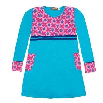Harga Aqeela Muslimah Wear Kids Piping Blue Top