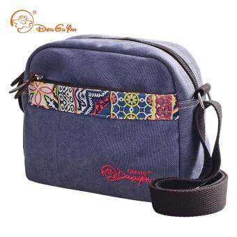 Harga Fashion Cross Body Shoulder Bags Douguyan G00155 National Style Canvas 3.8L Leisure Sling Bag(Blue)
