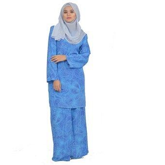 Harga Cotton & Silk - Baju Kurung Modern - 7551 - French Crepe Plain Printed - Kurung Modern Sunshine - A1 (Blue)