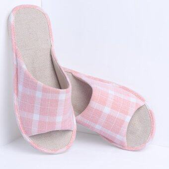 Harga Kenroll Women Hot Sale Soft Breathable Cotton Linen Indoor House Slippers(Pink Grid)