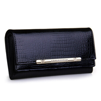 Harga KEVIN YUN Luxury Women Wallet Patent Leather Lady Fashion Clutch Purse Black
