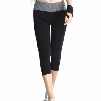 Harga Sports Wear Women Sport Trousers Yoga Pants 7 Points Jogging pants Body shaper Cycling Pants (Grey)