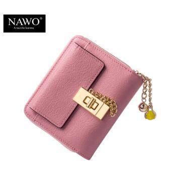 Harga NAWO Cow Genuine Leather Women Wallets Luxury Brand Small Wallet Credit Card Holder Wallets Ladies Short Coin Purse Pink