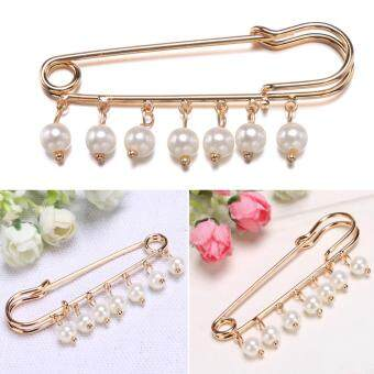 Harga Fashion Women Artificial Pearl Bead Gold Plated Alloy Pin Brooch
