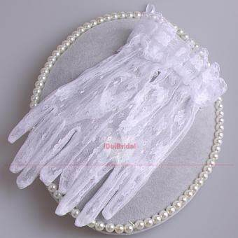 Harga White Short Lace Bridal Gloves Wedding Accessories Party Lace Gloves