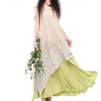 Harga Summer New National Wind Ladies Leave Two Put On A Large Cotton Dress Embroidered Linen