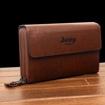 Harga New Jeep Handbag Genuine Cowhide Leather Clutch Soft Male Men Cowhide Leisure Hand Caught Double Zipper Bag (Brown)