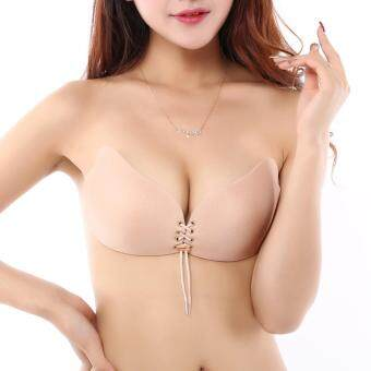 Harga Women Bandage Push Up Silicone Bust Self-Adhesive Front Closure Strapless Invisible Solf Bra A-D Cup (Beige)