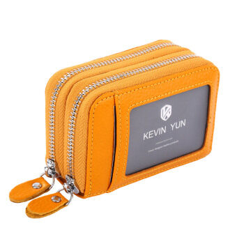 Harga KEVIN YUN Women ID Card Holder Leather Double Zipper Ladies Credit Card Case Wallet Yellow