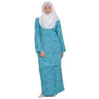 Harga Cotton & Silk - Baju Kurung Modern - 7551 - French Crepe Plain Printed - Kurung Modern Sunshine - A2(Teal Green)