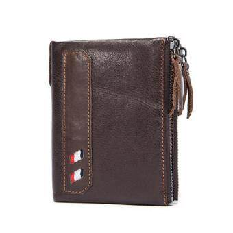 Harga Genuine Leather Men Wallets 2017 Fashion Short Wallet Brown