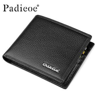 Harga Padieoe Good Quality Men Wallet Business Men's Short Purse 100% Genuine Cow Leather Wallets Card Holders