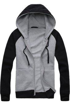 Harga Gracefulvara Fashion Men Boys Slim Pullover Hoodie Warm Jacket Hooded Zipper Sweatshirt (Light Grey & Black)