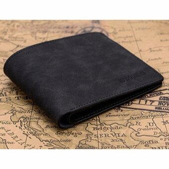 Harga leather mens wallet premium product real cowhide wallets for manshort black walet portefeuille homme-Black