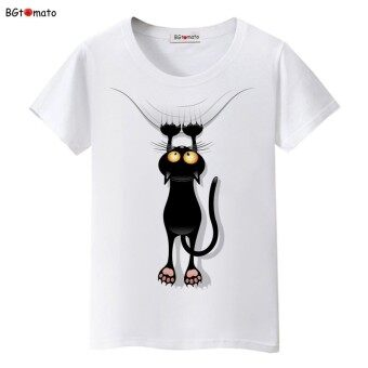 Harga Hot sale summer naughty black cat 3D T-shirt women lovely cartoon shirt Good quality comfortable brand casual tops XXL(White)